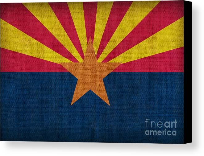 Arizona Canvas Print featuring the painting Arizona State Flag by Pixel Chimp