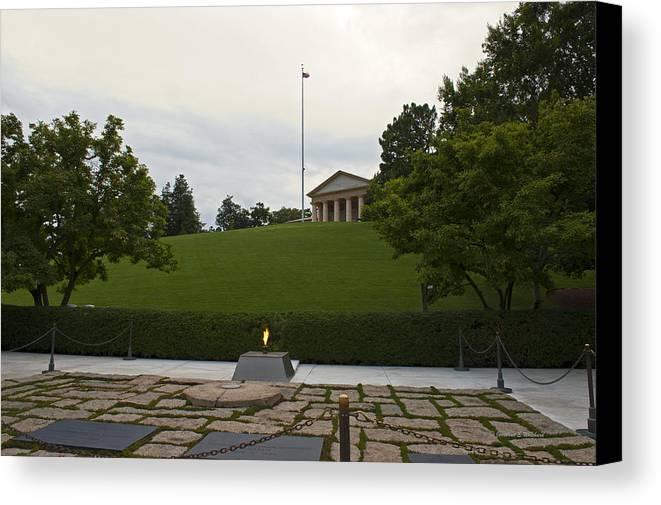 Arlington Canvas Print featuring the photograph Arlington Cemetery Eternal Flame by Jonathan E Whichard