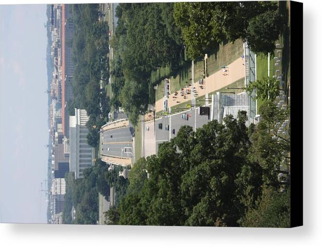 Arlington Canvas Print featuring the photograph Arlington National Cemetery - View From Arlington House - 12125 by DC Photographer