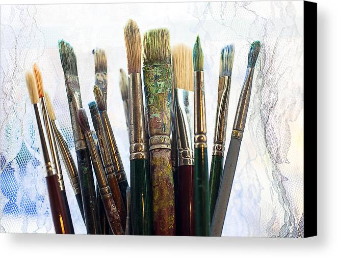 Artist Canvas Print featuring the photograph Artist Paintbrushes by Garry Gay
