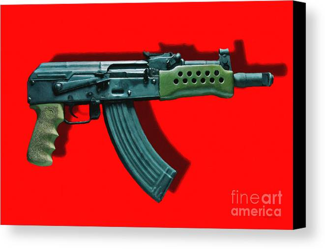 Gun Canvas Print featuring the photograph Assault Rifle Pop Art - 20130120 - V1 by Wingsdomain Art and Photography