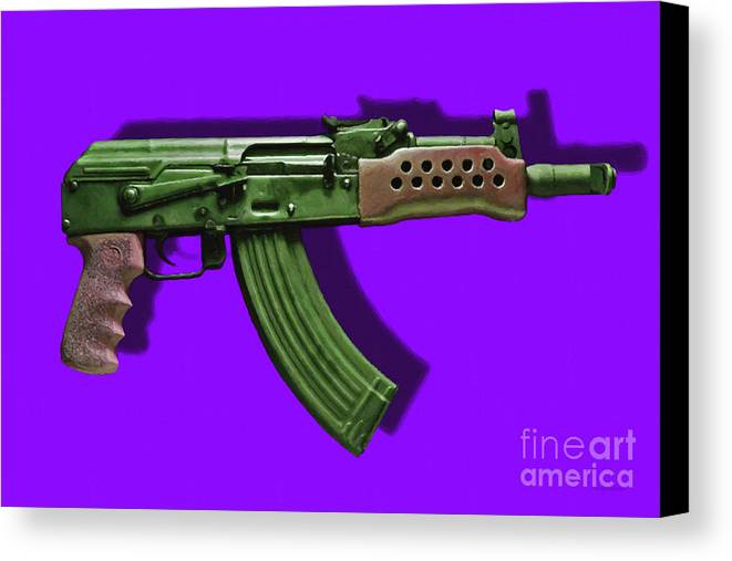 Gun Canvas Print featuring the photograph Assault Rifle Pop Art - 20130120 - V4 by Wingsdomain Art and Photography