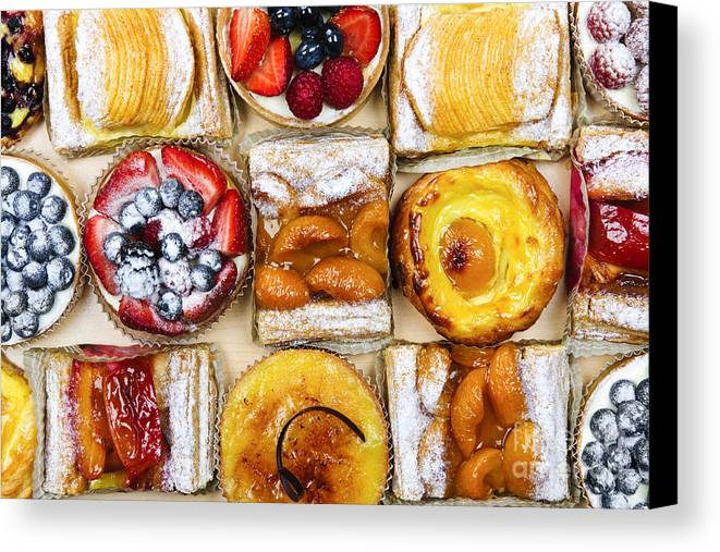 Pastries Canvas Print featuring the photograph Assorted Tarts And Pastries by Elena Elisseeva