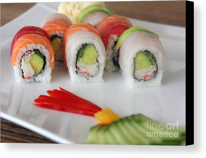Salmon Canvas Print featuring the photograph Assortment Of Sushi Maki by Oren Shalev