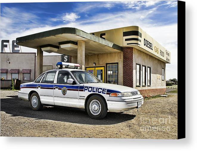 Corner Gas Canvas Print featuring the photograph At The Pumps by Nicholas Kokil