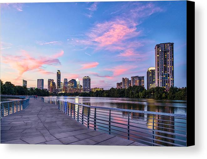 Austin Canvas Print featuring the photograph Austin Skyline At Sunset by Tod and Cynthia Grubbs