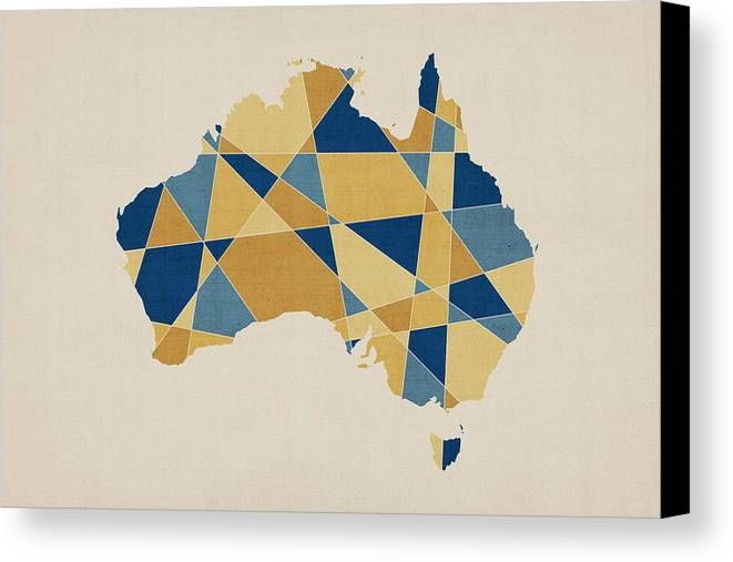 Australia geometric retro map canvas print canvas art by michael australia map canvas print featuring the digital art australia geometric retro map by michael tompsett gumiabroncs Image collections