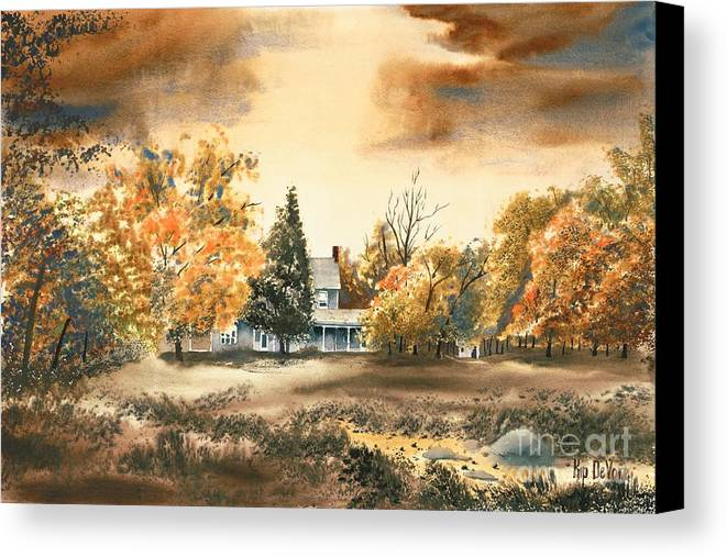 Autumn Sky No W103 Canvas Print featuring the painting Autumn Sky No W103 by Kip DeVore