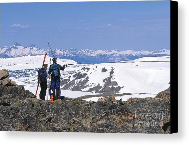 Absaroka Canvas Print featuring the photograph Backcountry Skiers by Chris Selby