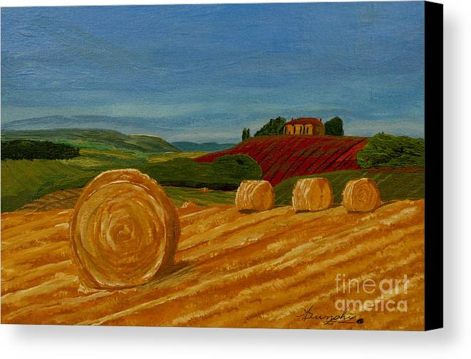 Hay Canvas Print featuring the painting Field Of Golden Hay by Anthony Dunphy
