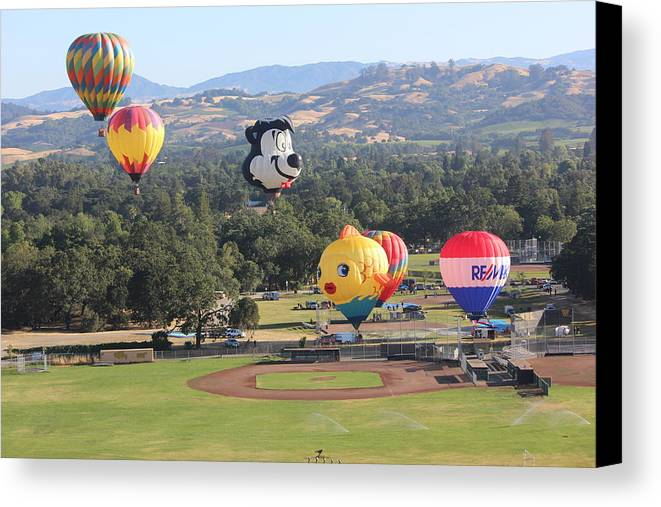 Hot Air Balloons Canvas Print featuring the photograph Balloons Over Wine Country by Michael Williams
