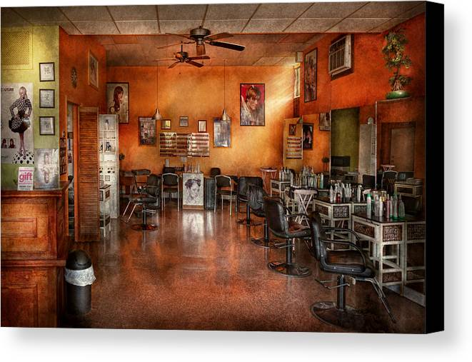 Barber Canvas Print featuring the photograph Barber - Union Nj - The Modern Salon by Mike Savad