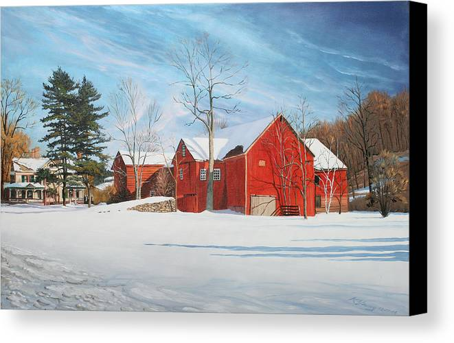 Barn Canvas Print featuring the painting Barns At Bezalel Gables by Kenneth Young
