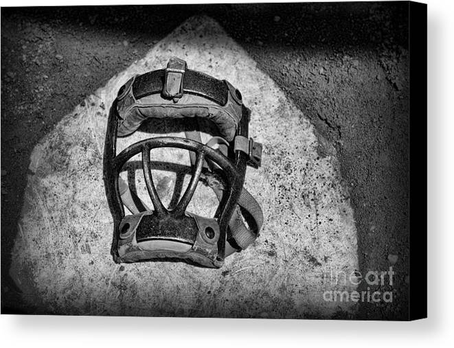 Paul Ward Canvas Print featuring the photograph Baseball Catchers Mask Vintage In Black And White by Paul Ward