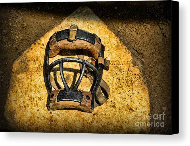 Paul Ward Canvas Print featuring the photograph Baseball Catchers Mask Vintage by Paul Ward