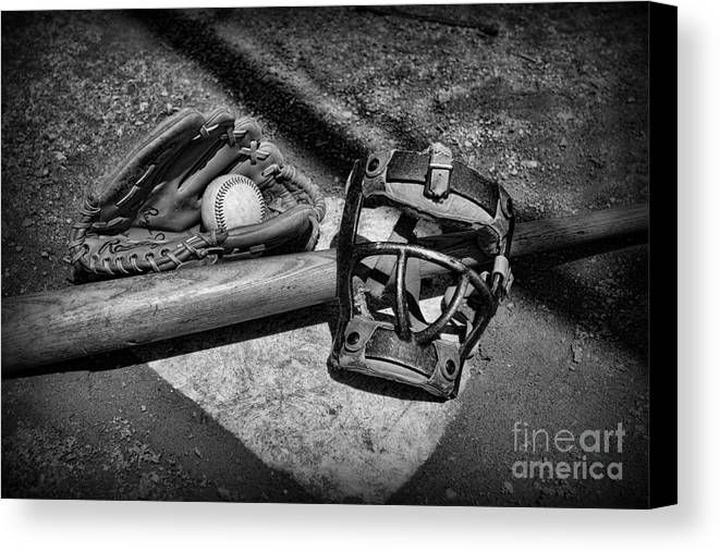 Paul Ward Canvas Print featuring the photograph Baseball Play Ball In Black And White by Paul Ward