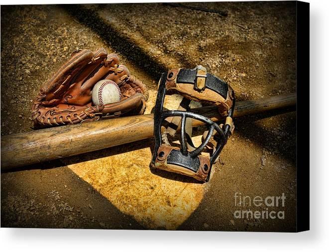 Paul Ward Canvas Print featuring the photograph Baseball Play Ball by Paul Ward