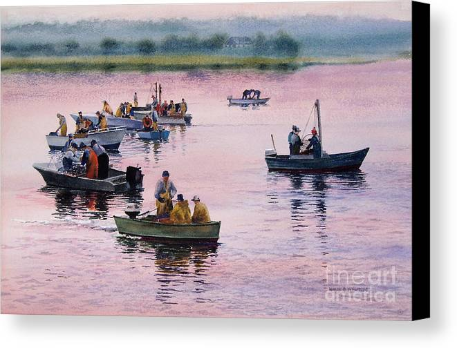 Boats Canvas Print featuring the painting Bass River Scallopers by Karol Wyckoff