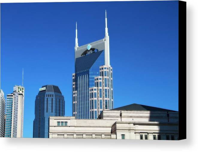 Batman Building And Nashville Skyline Canvas Print featuring the photograph Batman Building And Nashville Skyline by Dan Sproul