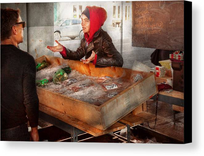 Amsterdam Market Canvas Print featuring the photograph Bazaar - I Sell Fish by Mike Savad