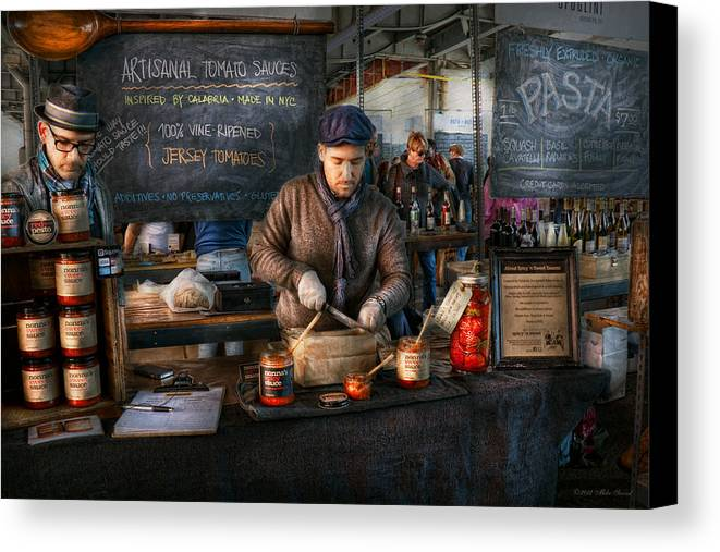 Amsterdam Market Canvas Print featuring the photograph Bazaar - We Sell Tomato Sauce by Mike Savad