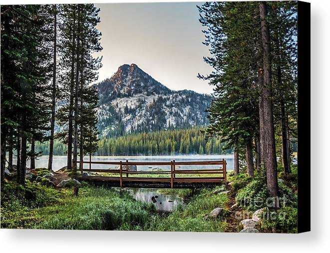Wallowa Mountains Canvas Print featuring the photograph Beautiful Bridge View by Robert Bales