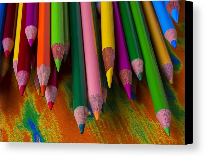 Colored Canvas Print featuring the photograph Beautiful Colored Pencils by Garry Gay