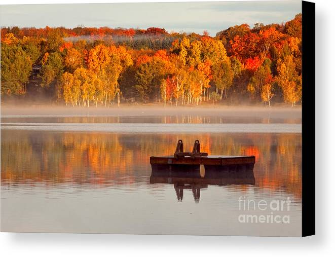 Water Landscape With Mist Canvas Print featuring the photograph Beautiful Ending To A Great Summer by Margaret Sarah Pardy