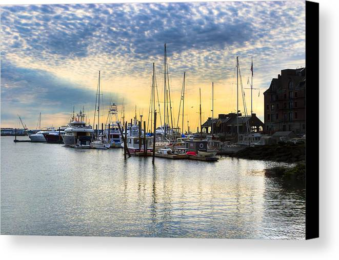 Boston Harbor Canvas Print featuring the photograph Beautiful Morning On Boston Waterfront by Mark E Tisdale