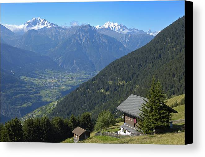 Alps Canvas Print featuring the photograph Beautiful View From Riederalp - Swiss Alps by Matthias Hauser