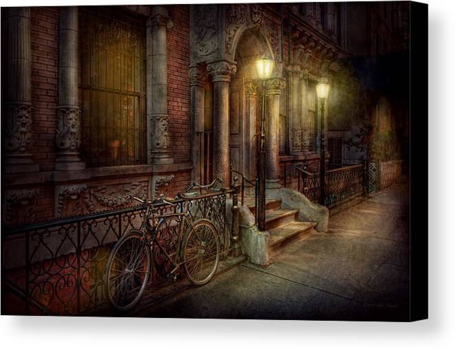 Savad Canvas Print featuring the photograph Bike - Ny - Greenwich Village - In The Village by Mike Savad