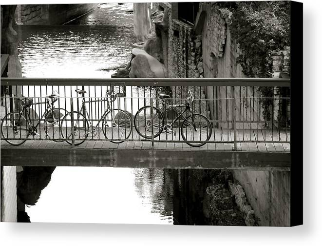 Waller Creek Photograph Canvas Print featuring the photograph Bikes Over Waller Creek by Kristina Deane