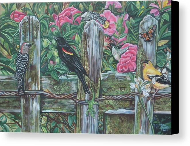 Birds Canvas Print featuring the painting Birds On A Fence by Diann Baggett