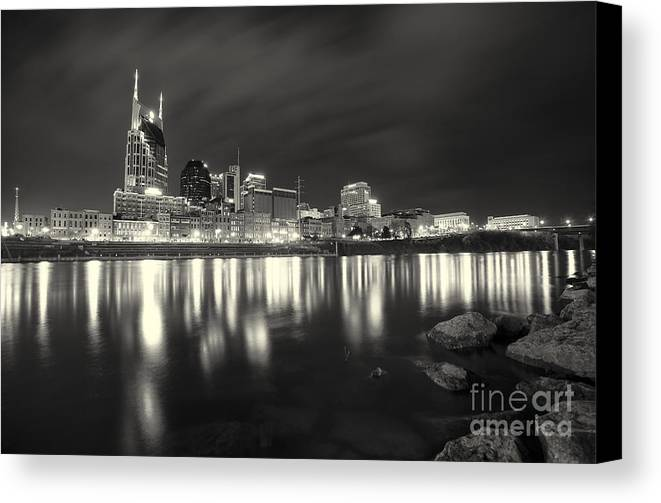 Nashville Canvas Print featuring the photograph Black And White Image Of Nashville Tn Skyline by Jeremy Holmes