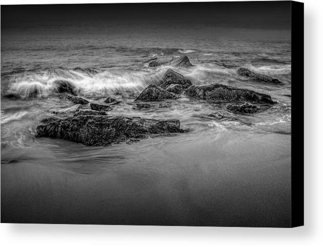 Art Canvas Print featuring the photograph Black And White Photograph Of Waves Crashing On The Shore At Sand Beach by Randall Nyhof