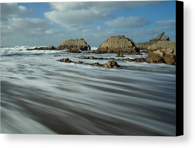 Blegberry Beach Canvas Print featuring the photograph Blegberry Beach Devon by Pete Hemington