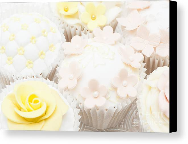 Cupcake Canvas Print featuring the photograph Blossoms And Bows Cupcake by Anne Gilbert