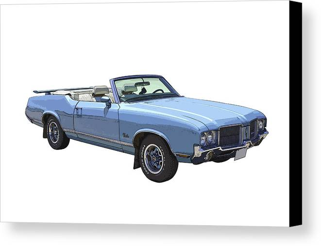 1971 Oldsmobile Cutlass Canvas Print featuring the photograph Blue 1971 Oldsmobile Cutlass Supreme Convertible by Keith Webber Jr