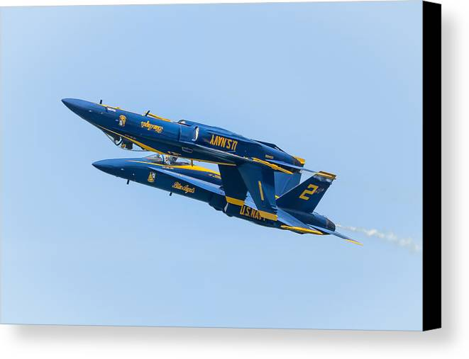 Cleveland Canvas Print featuring the photograph Blue Angels Upright And Inverted 2 by Brad Hartig - BTH Photography