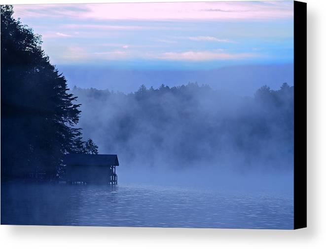 Blue Canvas Print featuring the photograph Blue Dawn Mist by Susan Leggett