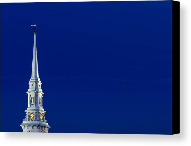 4th Of July Canvas Print featuring the photograph Blue Hour Steeple by Jeff Sinon