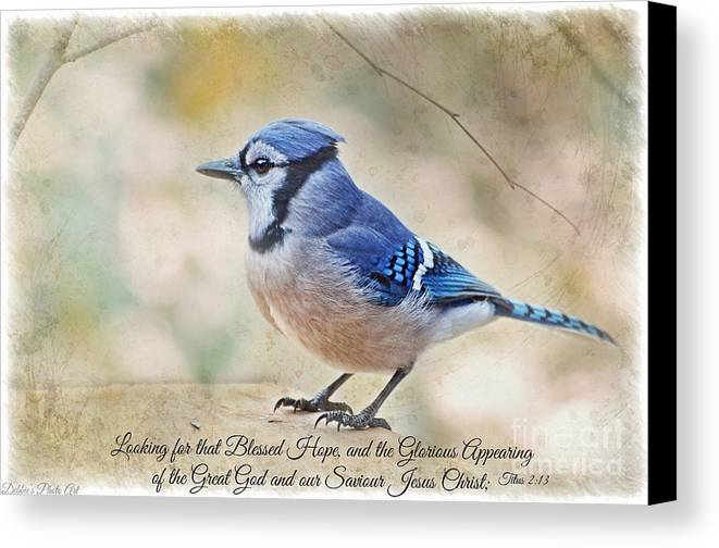 Bird Canvas Print featuring the photograph Blue Jay With Verse by Debbie Portwood