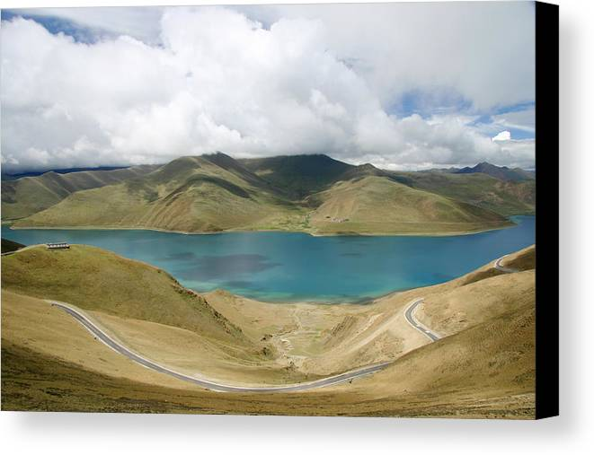 Lake Canvas Print featuring the photograph Blue Lake Among Mountain by Nelson Peng