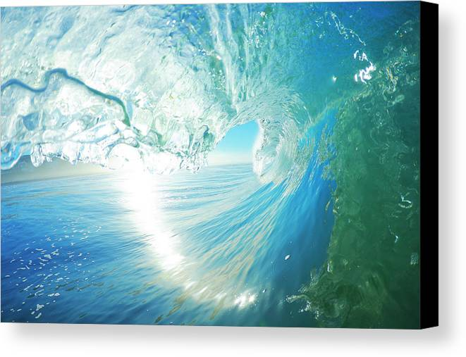 Active Canvas Print featuring the photograph Blue Ocean Wave by Design Pics Vibe