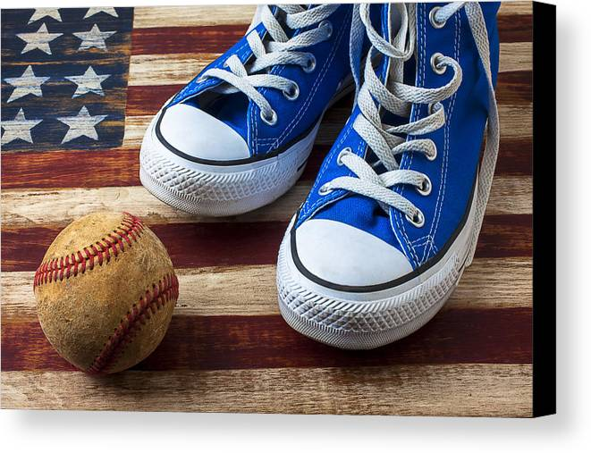 Blue Canvas Print featuring the photograph Blue Tennis Shoes And Baseball by Garry Gay