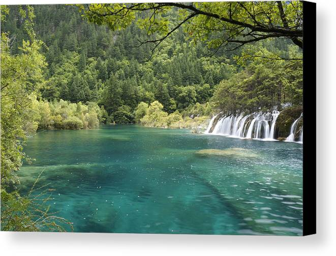 Waterfall Canvas Print featuring the photograph Blue Water by Nelson Peng