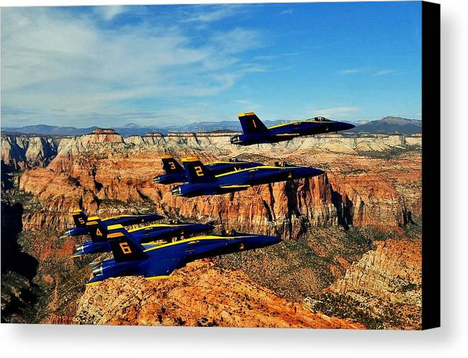 Blue Angels Canvas Print featuring the photograph Blues Over Zion by Benjamin Yeager