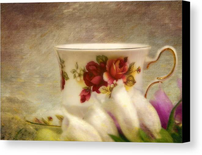 China Canvas Print featuring the photograph Bone China Teacup And Foxgloves by Peggy Collins