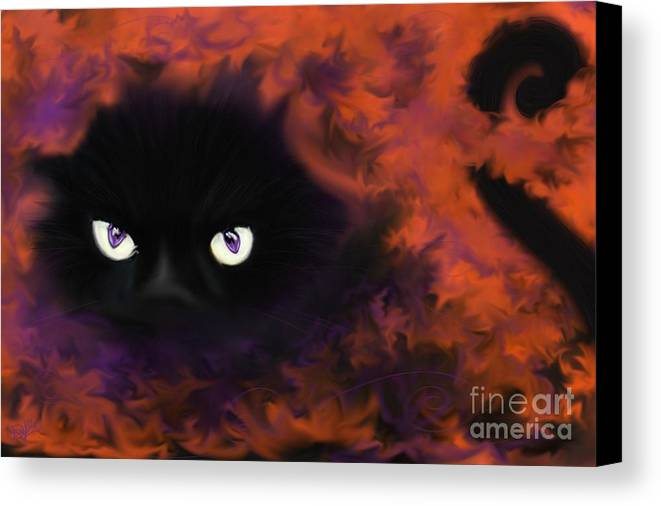 Black Cat Canvas Print featuring the painting Boo by Roxy Riou
