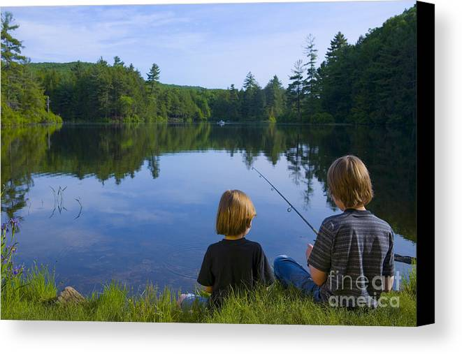 Blond Canvas Print featuring the photograph Boys Fishing by Diane Diederich